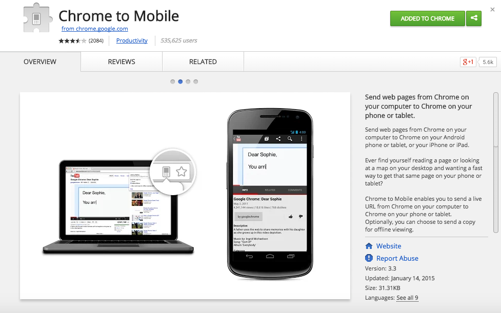 Chrome to Mobile