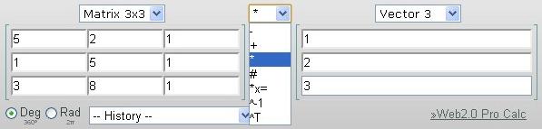 форма ввода матриц